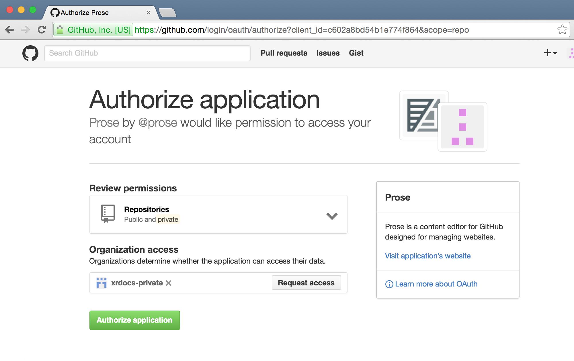 Authorize Github App